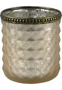 Castiçal Decorando Com Classe Vidro Bege C/Dourado 8X9Cm