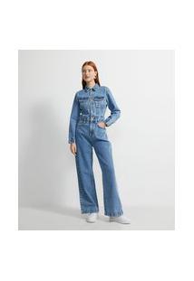Macacão Wide Leg Jeans Com Costuras E Bolsos Frontais