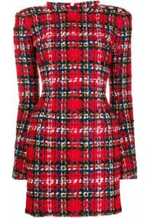 Balmain Vestido Xadrez De Tweed - Vermelho