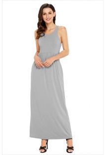 Vestido Longo Com Alça E Bolso Lateral - Cinza