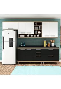 Cozinha Compacta New Vitoria 11 Avelã Tx/Onix/Bianco - Hecol