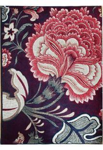 Tapete Andino Floral Iv Retangular Polipropileno (65X40) Marinho