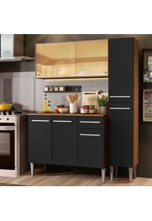 Cozinha Compacta Madesa Emilly Gold Com Armário, Balcão E Paneleiro - Rustic/Preto Marrom