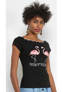Blusa Lily Fashion Flamingos Feminina - Feminino-Preto