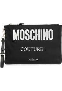 Moschino Logo Printed Clutch Bag - Preto