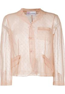Redvalentino Point D'Esprit Cropped Blazer - Neutro