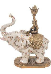 Castiçal Decorativo De Porcelana Elefante Petite Rose