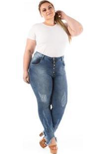 Calça Jeans Confidencial Extra Plus Size Feminina - Feminino-Azul