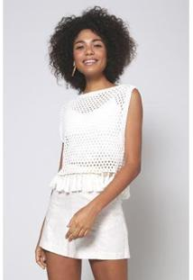 Blusa Tricot Franjas Oh, Boy! - Feminino-Off White