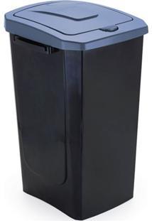 Lixeira Com Tampa Ecofácil 30 Litros Preta E Azul