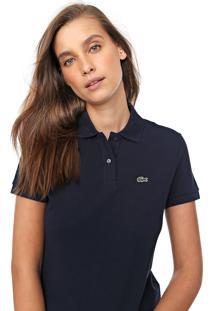 Camisa Polo Lacoste Classic Fit Logo Azul-Marinho
