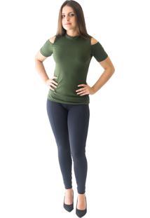 Blusa Abalot Ombro Recortado Verde