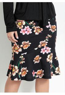Saia Com Babado Floral Preta Moda Evangélica