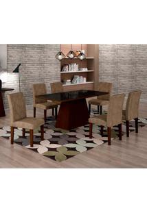 Conjunto De Mesa De Jantar Luna Com Vidro E 6 Cadeiras Ane I Suede Animalle Castor E Preto