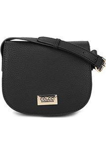 Bolsa Colcci Mini Bag Arredondada Placa Feminina - Feminino-Preto