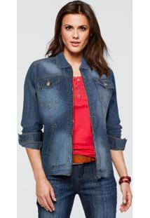Jaqueta Jeans Acinturada Com Zíper Azul