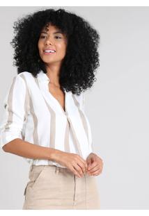 Camisa Feminina Listrada Manga Longa Decote V Off White