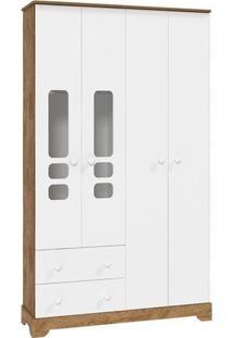 Guarda Roupa Infantil Smart 4 Portas Branca Acetinado/Teka Touch - Matic