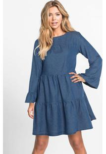 Vestido Jeans Com Recortes Azul