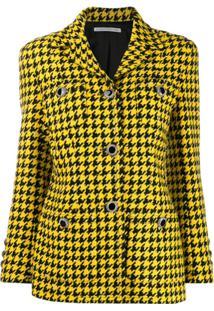 Alessandra Rich Blazer Com Estampa Pied-De-Poule - Amarelo