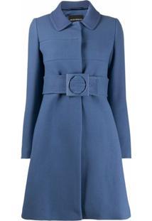 Emporio Armani Casaco Com Cinto E Abotoamento Simples - Azul