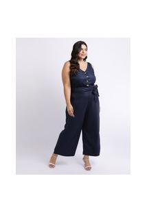 Macacão Feminino Mindset Plus Size Com Faixa Para Amarrar Na Cintura Decote V Azul Marinho