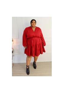 Vestido Curto Almaria Plus Size Tal Qual Com Cinto Vermelho