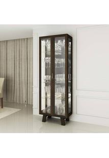 Cristaleira Com Espelho 2 Portas Em Vidro Cr6000 Tabaco - Tecno Mobili