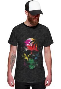 Camiseta Di Nuevo Coqueiros E Caveira Skull Tropical Cinza