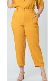 Calça Almaria Plus Size Munny Poa Devorê Amarelo