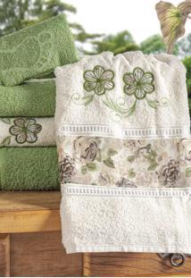Jogo De Banho Bia Enxovais Bordado Floral Algodã£O 5 Peã§As - Verde / Palha - Verde - Dafiti