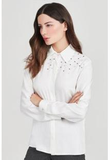 Camisa Bordado Rubinella Pérolas Feminina - Feminino-Off White