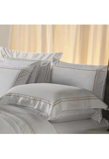 Fronha Avulsa Plumasul Premium Harmonious 50X150Cm Branca/Dourado