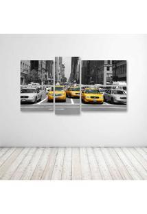 Quadro Decorativo - Ny Taxi Amarelo - Composto De 5 Quadros - Multicolorido - Dafiti