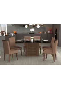 Conjunto De Mesa De Jantar Retangular Rafaela Com 6 Cadeiras Nicole Suede Pluma E Preto