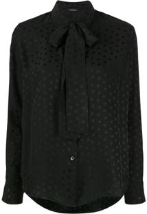 P.A.R.O.S.H. Star Pussy Bow Blouse - Preto