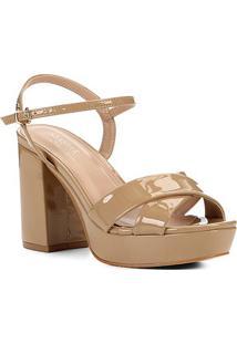 Sandália Shoestock Meia Pata Verniz Naked Feminina - Feminino-Castanha