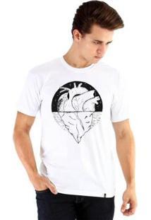 Camiseta Ouroboros Manga Curta Coração De Gelo Masculina - Masculino-Branco