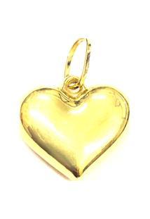 Pingente Coração Liso De Ouro - Feminino-Ouro