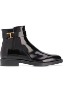 Tod'S Ankle Boot Com Placa De Logo E Zíper Lateral - Preto