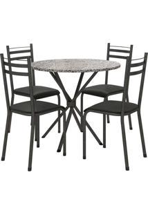 Conjunto De Mesa 80Cm 4 Cadeiras Lyon Preto Fabone Móveis Tubulares