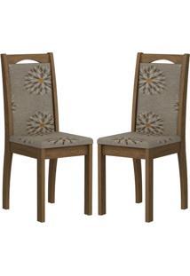 Cadeira Lívia Mdf 02 Unidades Savana/Café Cimol
