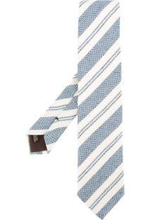 United Arrows Gravata De Seda Listrada - Azul