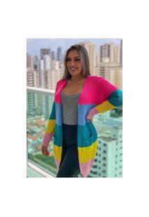 Cardigan Kimono Colorido Fec Fashion Cardigan Blogueirinha Arco-Iris