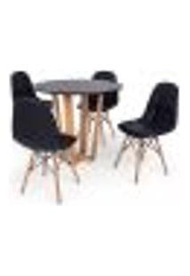 Conjunto Mesa De Jantar Lara 90Cm Preta Com 4 Cadeiras Charles Eames Botonê - Preta
