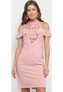 Vestido Lily Fashion Renda Babados - Feminino-Rosa