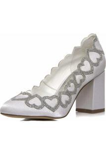 Sapato Boneca Noiva Corações Salto Confortável - 2300/521 Branco