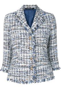 Tagliatore Jaqueta De Tweed Cropped - Azul