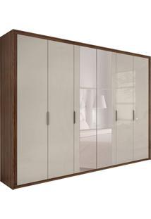 Guarda-Roupa Casal Com Espelho Stillus 6 Pt 6 Gv Imbuia E Off White