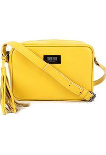 Bolsa Couro Santa Lolla Mini Bag Alça Transversal Floater Feminina - Feminino-Amarelo